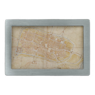 Leonardo da Vinci - Plan of Imola Painting Belt Buckle