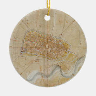 Leonardo da Vinci - Plan of Imola Painting Ceramic Ornament