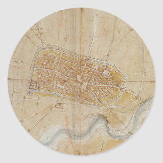 Leonardo da Vinci - Plan of Imola Painting Classic Round Sticker