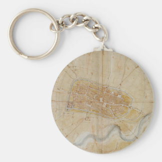 Leonardo da Vinci - Plan of Imola Painting Keychain
