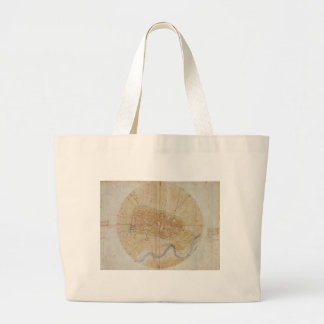 Leonardo da Vinci - Plan of Imola Painting Large Tote Bag