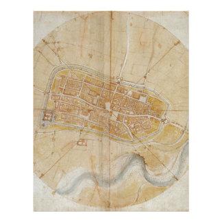 Leonardo da Vinci - Plan of Imola Painting Letterhead