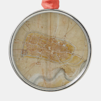 Leonardo da Vinci - Plan of Imola Painting Metal Ornament