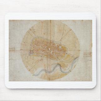 Leonardo da Vinci - Plan of Imola Painting Mouse Pad