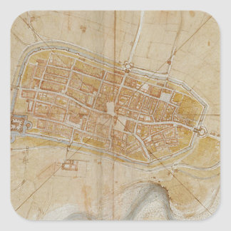 Leonardo da Vinci - Plan of Imola Painting Square Sticker