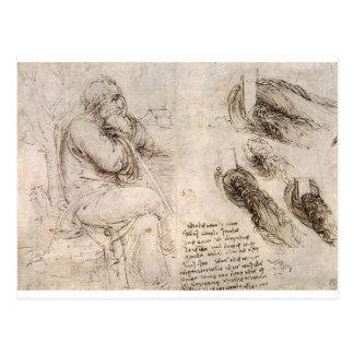 Leonardo da Vinci, possible self-portrait. Postcard