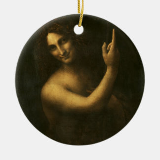 Leonardo da Vinci -Saint John the Baptist Painting Ceramic Ornament
