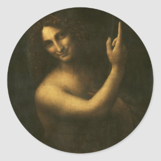 Leonardo da Vinci -Saint John the Baptist Painting Classic Round Sticker