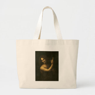Leonardo da Vinci -Saint John the Baptist Painting Large Tote Bag