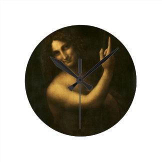 Leonardo da Vinci -Saint John the Baptist Painting Round Clock