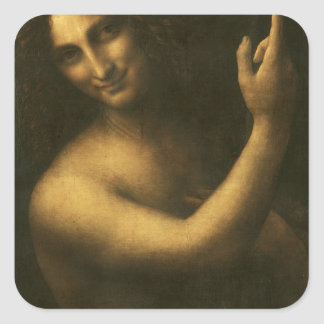 Leonardo da Vinci -Saint John the Baptist Painting Square Sticker