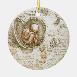 Leonardo da Vinci Studies of the Fetus in the Womb Ceramic Ornament
