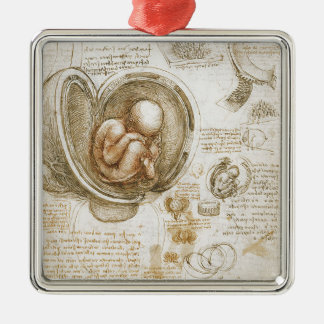 Leonardo da Vinci Studies of the Fetus in the Womb Metal Ornament