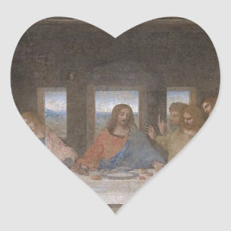 Leonardo da Vinci - The Last Supper painting Heart Sticker