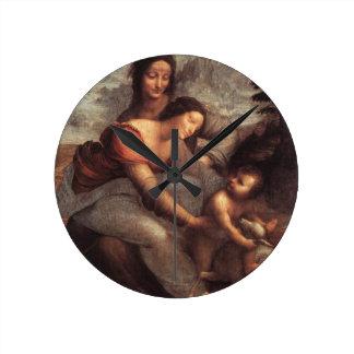 Leonardo da Vinci - Virgin and Child with St Anne Round Clock