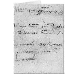 Leonardo da Vinci's handwriting Card