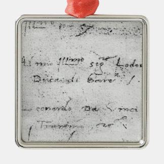 Leonardo da Vinci's handwriting Silver-Colored Square Ornament