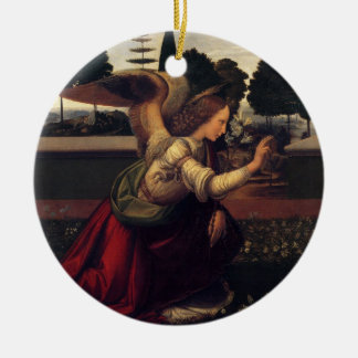Leonardo DaVinci Annunciation - Angel Round Ceramic Ornament