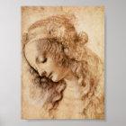 Leonardo Sketch of a Woman's Head Poster