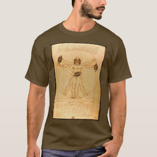 Leonardo Vitruvian Man As American Football Player T-Shirt