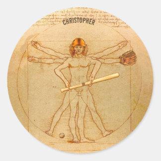 Leonardo Vitruvian Man As Baseball Player Classic Round Sticker