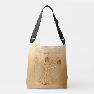 Leonardo Vitruvian Man As Baseball Player Crossbody Bag