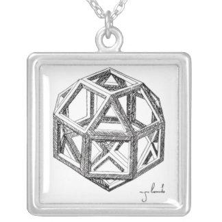 Leonardo's Polyhedra Silver Plated Necklace