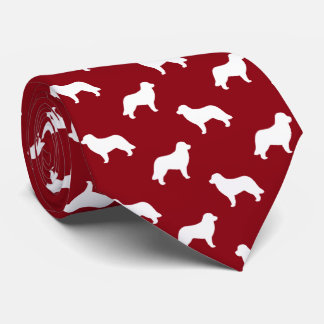 Leonberger Dog Silhouettes Pattern Red Tie