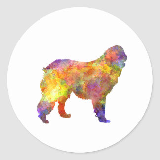 Leonberger in watercolor classic round sticker