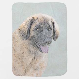 Leonberger Painting - Cute Original Dog Art Baby Blanket