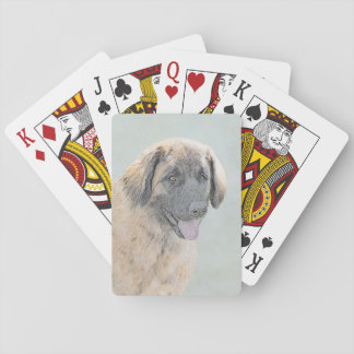 Leonberger Painting - Cute Original Dog Art Playing Cards