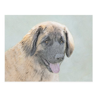 Leonberger Painting - Cute Original Dog Art Postcard