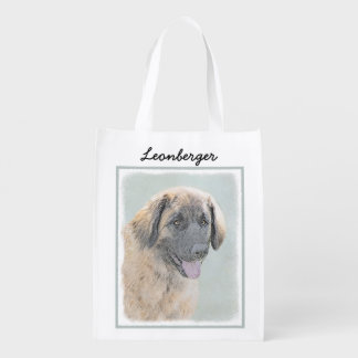 Leonberger Painting - Cute Original Dog Art Reusable Grocery Bag