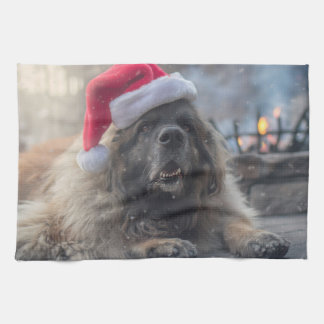 Leonberger Santa Kitchen Towel