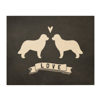 Leonberger Silhouettes Love Wood Canvases