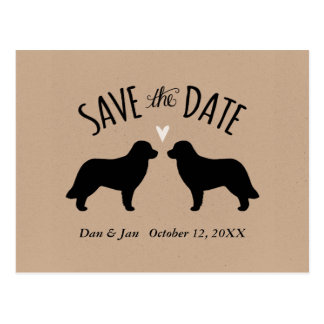 Leonberger Silhouettes Wedding Save the Date Postcard