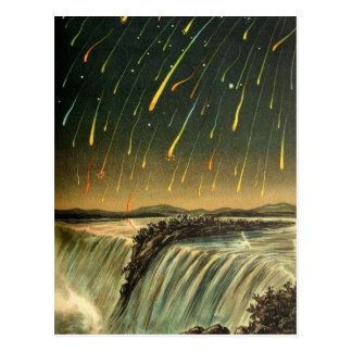 Leonid Meteor Storm Painting from 1883 Postcard