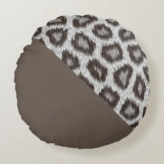Leopard2 - Cacao- grade A cotton round cushion