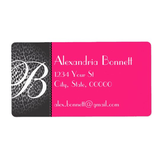 Leopard and Hot Pink Monogram Address Labels