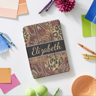 Leopard and Paisley Design Print to Personalize iPad Pro Cover