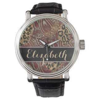 Leopard and Paisley Pattern Print to Personalize Watch