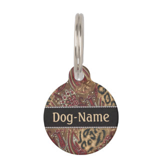 Leopard and Paisley to Personalize Pet ID Tag