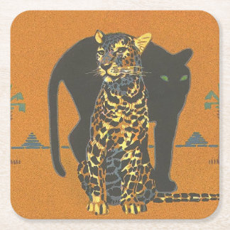 Leopard and Panther Square Paper Coaster