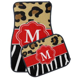 Leopard and Zebra Red Monogram Car Mat
