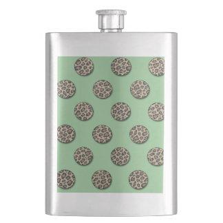 Leopard animal print elegant polka dots mint flasks
