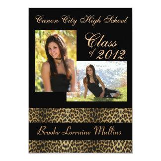Leopard animal print graduation announcement