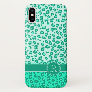 Leopard animal print mint monogram iphone case