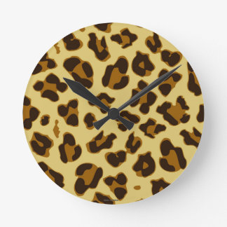 Leopard Animal Print Pattern Round Clock