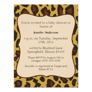"Leopard Baby Shower 4.25"" X 5.5"" Invitation Card"