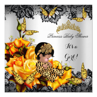 """Leopard Baby Shower Girl Butterfly Yellow Ethnic 5.25"""" Square Invitation Card"""